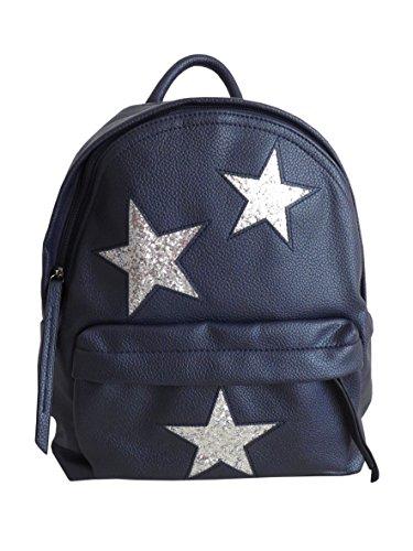 Mega cooler Rucksack dunkel blau mit Glitzer top aktuelles Stern Design Tasche
