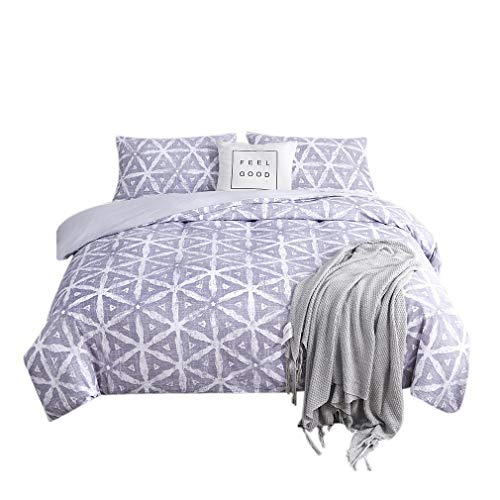 AYHome Grey Duvet Cover Set Twin,Geometric Soft Breathable and Stylish Comforter Cover Bedding Set(Twin,Triangle-Grey)