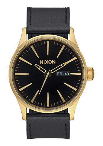 (Nixon Sentry Leather A105513-00. Gold and Black Men's Watch (42mm Gold/Black Watch Face/ 23mm Black Leather Band))