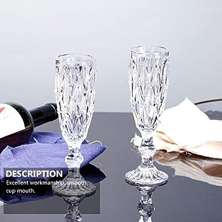 Cabilock 6 Unids Copa de Champán Flautas de Vino Cristalinas Retro Cristalería de Tallo Espumoso para Aniversario de Bodas Fiesta de Halloween de Navidad