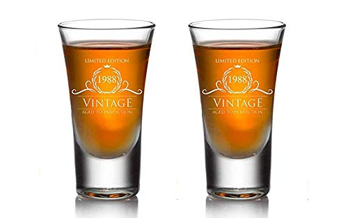 1988 Birthday Gifts for Women and Men Shot Glass (set of 2) – Funny Vintage Anniversary Gift Ideas for Him, Her, Dad, Mom, Husband or Wife. Party Favors Decorations