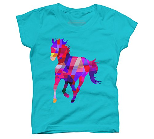 Geometric Cool Horse Colorful Girl's Large Ocean Blue Youth Graphic (Youth Graphic)