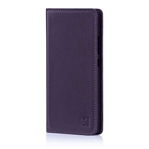 32nd Classic Series - Real Leather Book Wallet Case Cover for Sony Xperia L2, Real Leather Design with Card Slot, Magnetic Closure and Built in Stand - Aubergine
