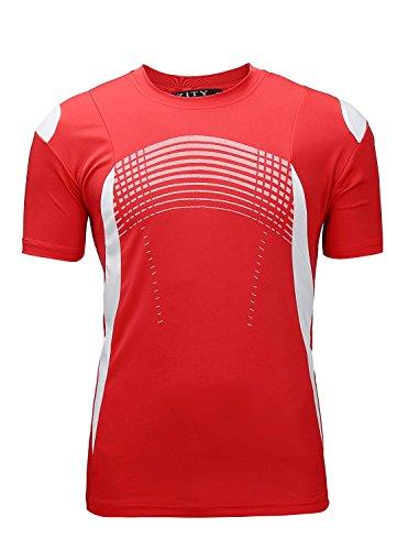 ZITY Sportswear Men's 100% Polyester Moisture-Wicking Short-Sleeve T-Shirt Red - Sleeve Football Short T-shirt