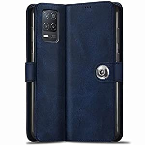 TheGiftKart Genuine Leather Finish Realme 8 5G / Narzo 30 5G Flip Back Cover | Inbuilt Pockets & Stand | Wallet Style…