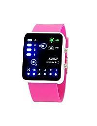 Technological Sense Binary Digital LED Waterproof Unisex Sports Wrist Watches Rose Red