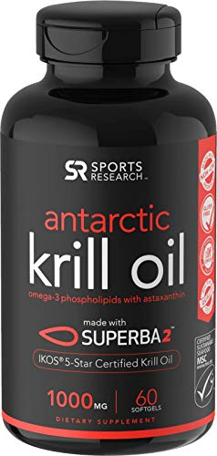 Antarctic Krill Oil (Double Strength) with Omega-3s EPA, DHA and Astaxanthin (60 Softgels - 1000mg) (Best Krill Oil 1000mg)