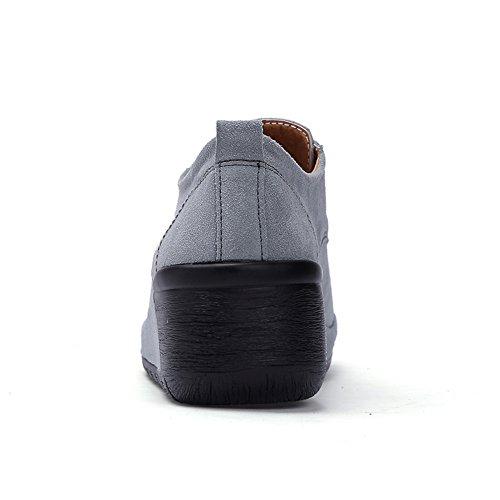 Stq Scarpe Basse In Pelle Scamosciata Scarpe Stringate Moda Zeppe Leggere Mocassino Sneakers Da Lavoro Grigie