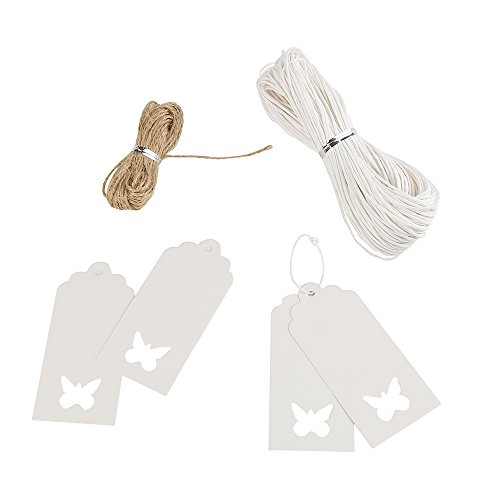 DECORA 120 Pieces White Kraft Paper Gift Tags with String Vintage Hang Tags with Hollow Butterfly Wedding Favor Tags Party Gift Tag Name Price Labels with 2 rolls Natural Jute Twine Butterfly Theme Favors
