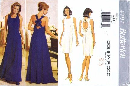 Flared Knot (Butterick 4797 Sewing Pattern Donna Rico Evening Dress Flared Straps Size 6 - 8 - 10)