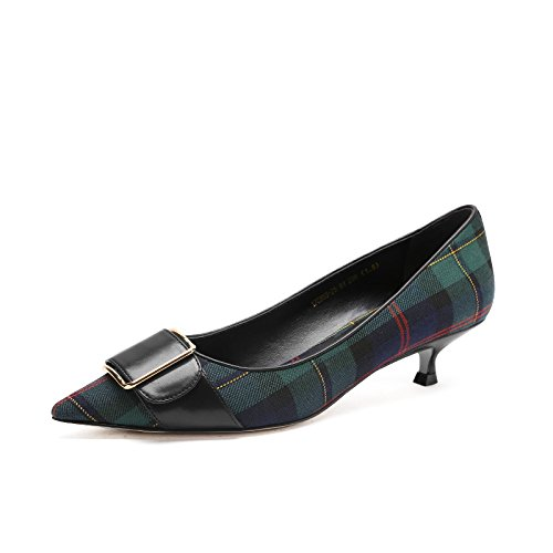 Shoes Pointed High Shoes heels Mouth New Shallow Female Plaid Spring green Heels High Jqdyl wgRqS4n