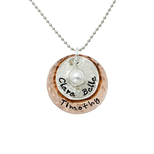 - Deux Amore Multi-Tone Two Disc Necklace Personalized on Sterling Silver and Rose Gold Plated Discs with your Choice of Names. Includes Swarovski Pearl. Hand finished and Includes 925 Chain