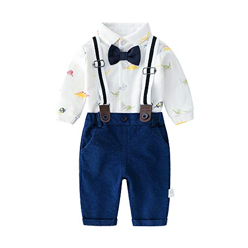 Baby Boys Long Sleeve Shirt+Denim Overalls Outfit Suits with Bowtie, Infant Gentleman Pants Set,3-6M - Long Sleeve Boys Overalls