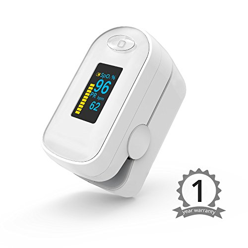 Fingertip Pulse Oximeter SpO2 Pulse Sensor Blood Oxygen Saturation Monitor Heart Rate Monitor with Carrying Case C1-OLED(White) by Boxym