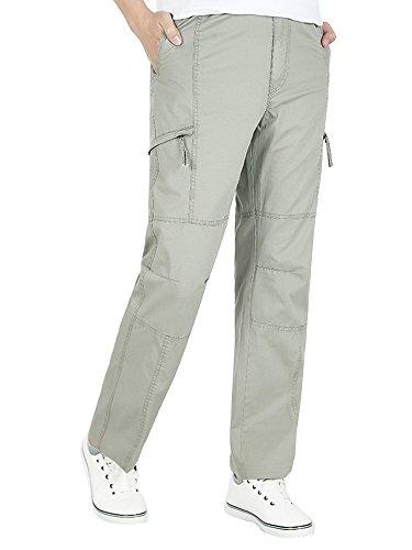 OCHENTA Men's Full Elastic Waist Lightweight Workwear Pull On Cargo Pants #08 Khaki Tag 5XL - US 42 - Full Khaki