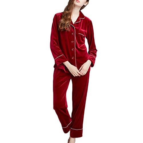 Tinta Unita Donna Da Pigiama In Stile Pezzi Manica Red Due Set In Notte Calda Da Velluto Autunno PJ's Lunga Inverno Pigiama Pigiama Jogging Da w1Rqq