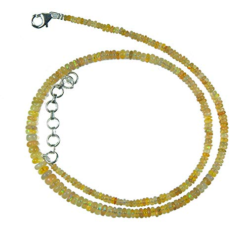 Myhealingworld AAA Quality Natural Ethiopian Opal Blue/Yellow/Orange/Green/Red Fire Beads.16 inch Beaded Necklace With Additional 2 inch Extension. Bead Size Varies from 2mm to 5mm