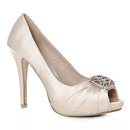 Peep Battesimo E Tacco Plateau Scarpe A Toe Con Wedding Tacco Womens In Spillo Ladies Raso Avorio Spilla SwBEz4xpq