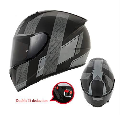 オートバイヘルメット男性、フルカバーのフルフェイスヘルメット、涼しい冬暖かい機関車のヘルメット、ヘルメット、寒い冬のスポーツヘルメット、取り外し可能な裏地、折り畳み式 (色 : Gray, サイズ さいず : XL) Gray X-Large