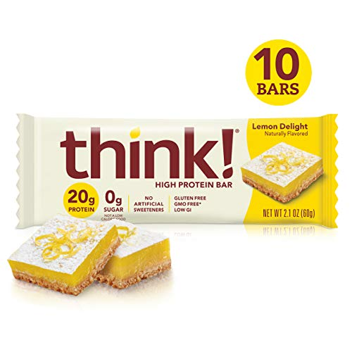 Think! (thinkThin) High Protein Bars - Lemon Delight, 20g Protein, 0g Sugar, No Artificial Sweeteners, Gluten Free, GMO Free*, 2.1 oz bar (10Count - Packaging May Vary)