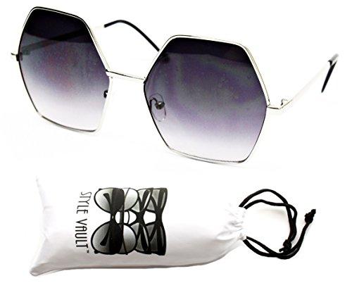 V158-vp Style Vault Octagon Round Celebrity Sunglasses (Ts Silver-smoked, - Celebrity Sun Glasses