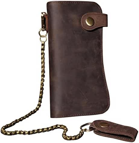 Sellse Men's Crazy Horse Leather Hasp Long Wallet With Chain