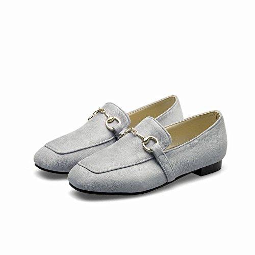 Charm Foot Mujeres Casual Square Toe Mocasines De Tacón Bajo Zapatos Gris