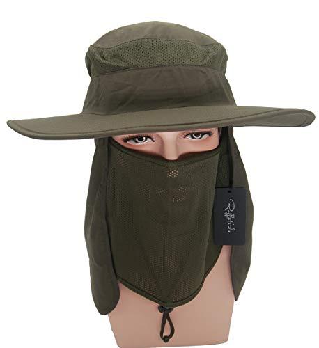 6c531b5f Amazon.com: Roffatide Detachable Sun Hat with Neck Flap Outdoor Fishing Mesh  Bonnine Bucket Cap Army Green: Clothing