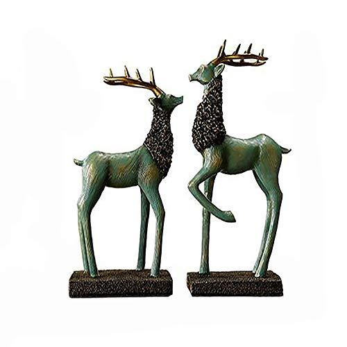 MZL Europeo Retro Pareja Ciervos Adornos creativos Sala de Estar de Resina artesanía Oficina estantería Adornos nórdicos