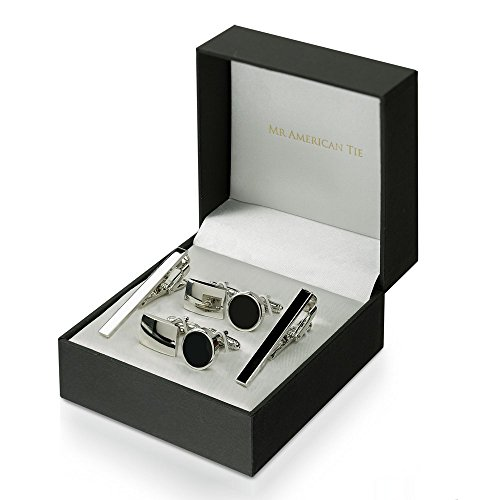 IandSdreams Mr. American Tie 2 Piece Tie Clip and Cufflink Set, Two Sets with Gift Box, Black plus Silver Tone (Skinny ()