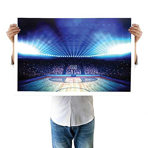 "Basketball top Basketball Arena Court with Fans and Competition Theme Game Excitement Print fine 32""x48""inch Navy Black"