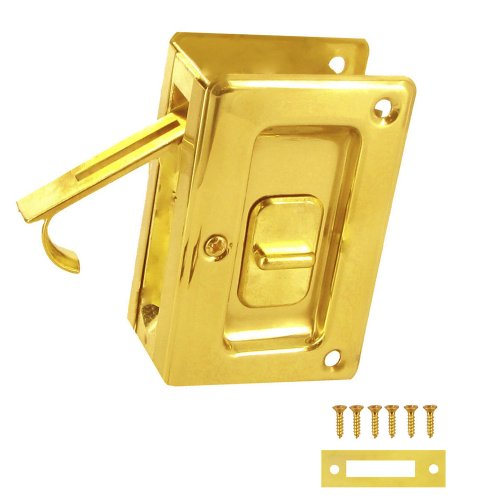 Stanley Hardware S404-040 PD250-62 Deluxe Pocket Door Latch in Brass , 2-3/8