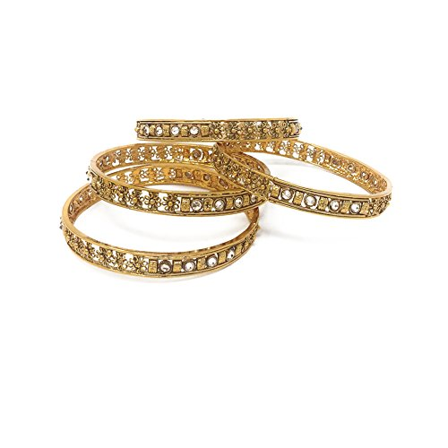 Ethnic Antique Gold Plated Finish Set of $ Bangles with filigree Flowers in White Zircon Size 2.2 Diameter 2 Inches ()
