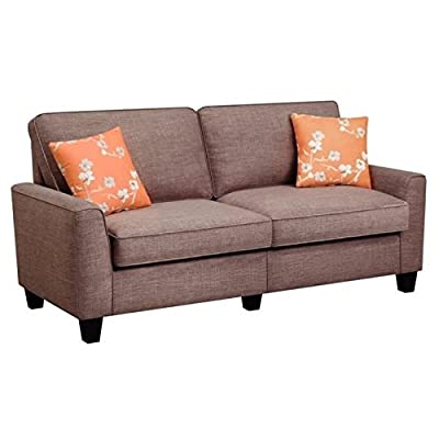 "Serta RTA Astoria Collection 61"" Loveseat in Church Brick Tan, - Quick, tool-free assembly and one-box packing make this sofa a great solution for assembling in small living spaces.  Product Dimensions: 35"" H x 61"" W x 32.5"" D. Seat Width: 47.5"". Seat Back Dimensions: 30.5"" H x 61"" W. Durable, easy-to-clean linen texture fabric Flared arms, plush cushions and soft fabric create a cozy, contemporary style that completes any home decor - sofas-couches, living-room-furniture, living-room - 412ZfTJb1qL. SS400  -"