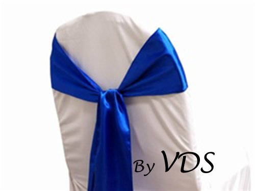 Silk Charmeuse Sash (VDS Set of 100 Elegant Satin Wedding Chair Sashes Bows for wedding Party Banquet Decor - Ribbon Tie Back Sash bow – Royal Blue)