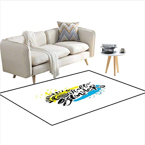 - Carpet,Grunge Style Speckled Brush Strokes with Motivational Handwritten Lettering,Outdoor Rug,Multicolor 55