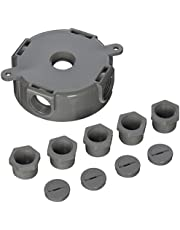 Round Weatherproof Box, Five 1/2 or 3/4 in. Threaded Outlets, Gray