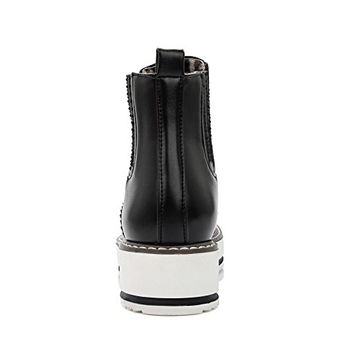 AgooLar Women's Low-Top Solid Pull-On Closed Round Toe Low-Heels Boots Black BEKYxJUqt3