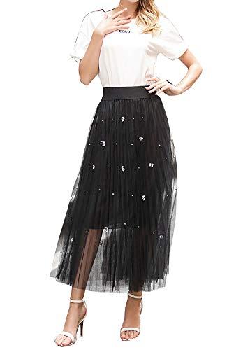 Femme Dentelle Double Couche Jupe Maxi Taille Haute lgante Classique Chic Casual A-Line Jupes Noir