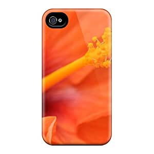 New Snap-on JackieAchar Skin Case Cover Compatible With Iphone 5/5s- Orange Hibiscus Flower