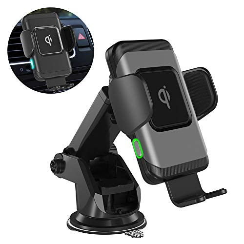 FREESOO QI Wireless Car Charger,10W Car Charger Mount,Windshield Dashboard Air Vent Auto-Clamping Phone Charger Holder Compatible with iPhone Xs MAX/XS/XR/X/8/8+,Samsung S10/S10+/S9/S9+/S8/S8+ ()