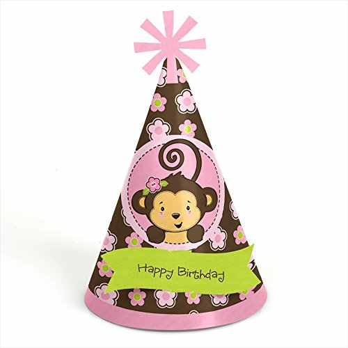 UPC 849563039511, Monkey Girl - Cone Birthday Party Hats - 8 Count