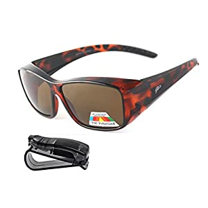 Fit Over Polarized Sunglasses Lens Cover Sunglasses plus car clip holder