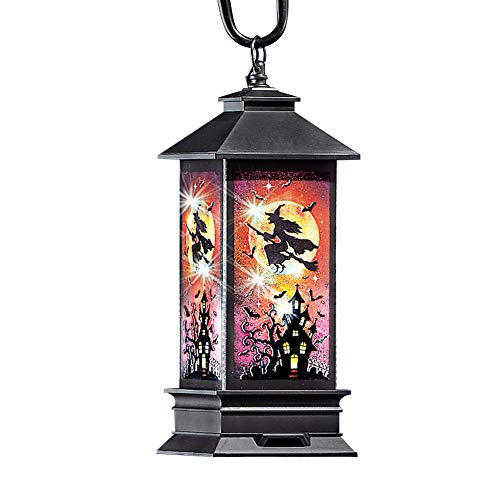Collections Etc Solar Halloween Haunted House Lantern Stake with Flying Witch and Includes Sheppard's Hook (Witch Pumkins)