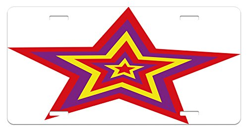 - Lunarable Psychedelic License Plate, Large Fireworks Star Image Optical Pattern Retro Groovy Magic Theme Print, High Gloss Aluminum Novelty Plate, 5.88 L X 11.88 W Inches, Yellow Purple