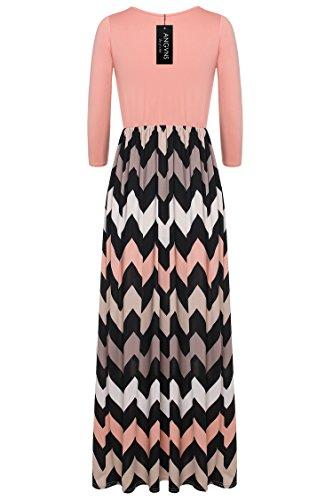 Beyove Femmes Mode Manches 3/4 Couleur Contrastée Casual Rayé Robe Maxi Orange, Chevron