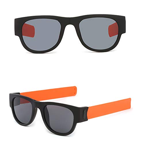 Fashion Slap Folding Sunglasses Wristband Frame Polarized Glasses for Driving Action Sports Bracelet (Orange, Size:14.3x13.5cm) ()