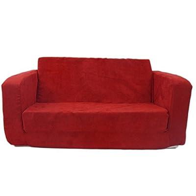 Fun Furnishings 55232 Toddler Flip Sofa In Micro Suede Fabric, Red