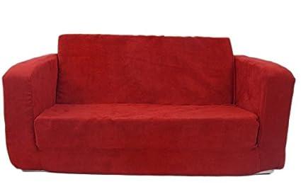 Merveilleux Fun Furnishings 55232 Toddler Flip Sofa In Micro Suede Fabric, Red