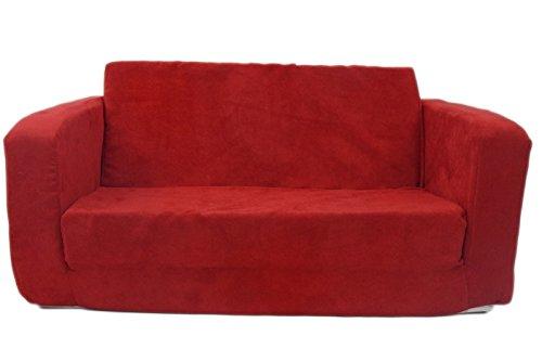 (Fun Furnishings 55232 Toddler Flip Sofa in Micro Suede Fabric, Red)